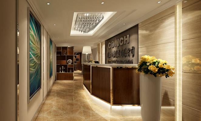 办公空间工作区棕色(原木色)瓷砖工艺品 前台接待区作为门面的担当,以
