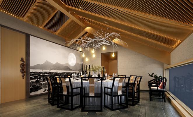 设计免费获取报价 餐饮空间背景墙黄色板材工艺品         新中式酒店