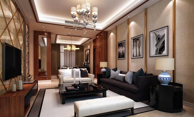 电视背景墙采用文化石与透光石相结合,而顶面与沙发背景则采用木饰