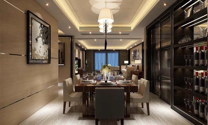 港式风格-卧室 卧室背景墙米色吊顶工艺品图片