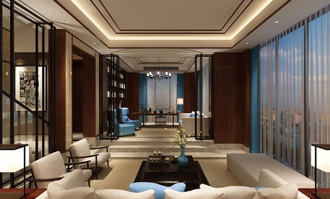 点赞 收藏 免费户型设计免费获取报价 现代中式--中国蓝客厅吊顶图片