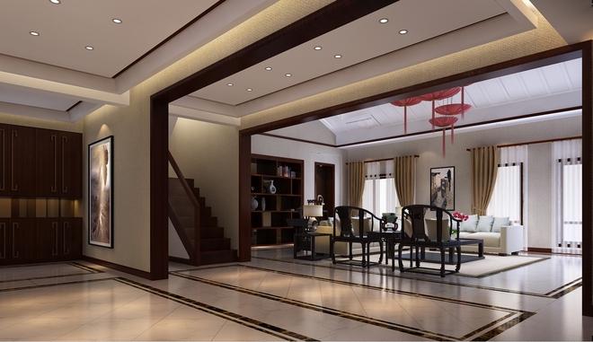 免费户型设计免费获取报价 新中式雅居-蓝岸丽舍别墅私宅客厅吊顶图片