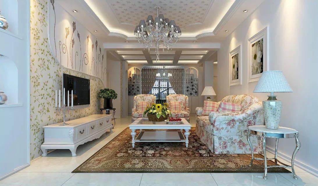 欧式田园装修风格客厅设计效果图欣赏