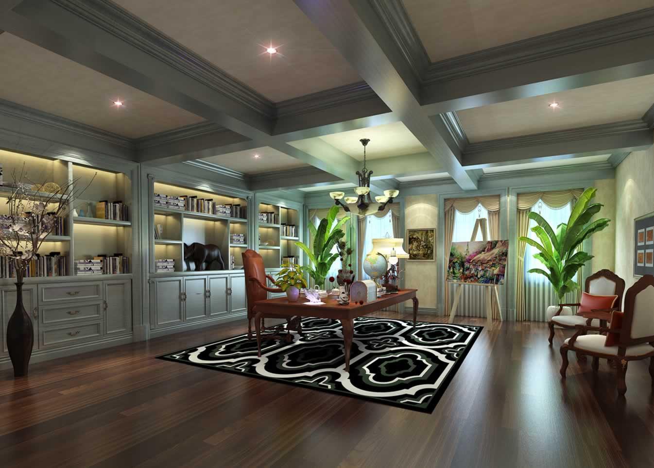 大气欧式风格四居室书房书柜设计