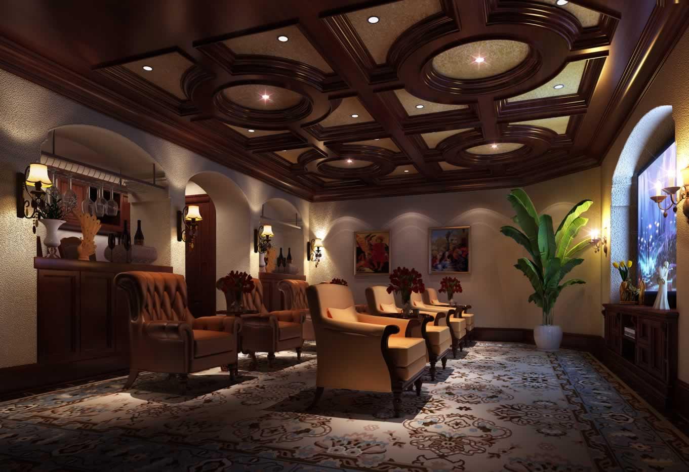 大气欧式风格四居室视听室装修效果图
