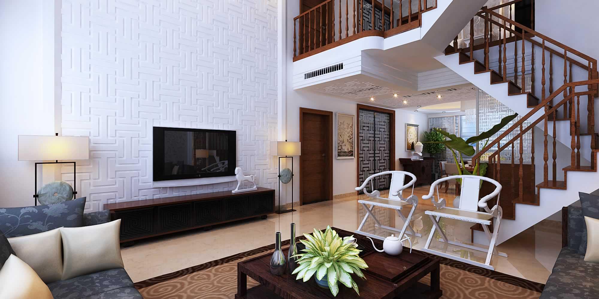 179平米中式风格客厅楼梯装修设计