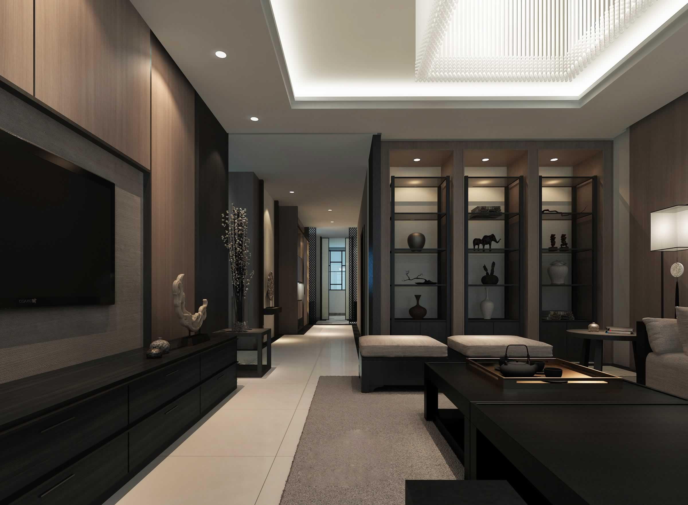 89平米时尚中式风格客厅装修设计