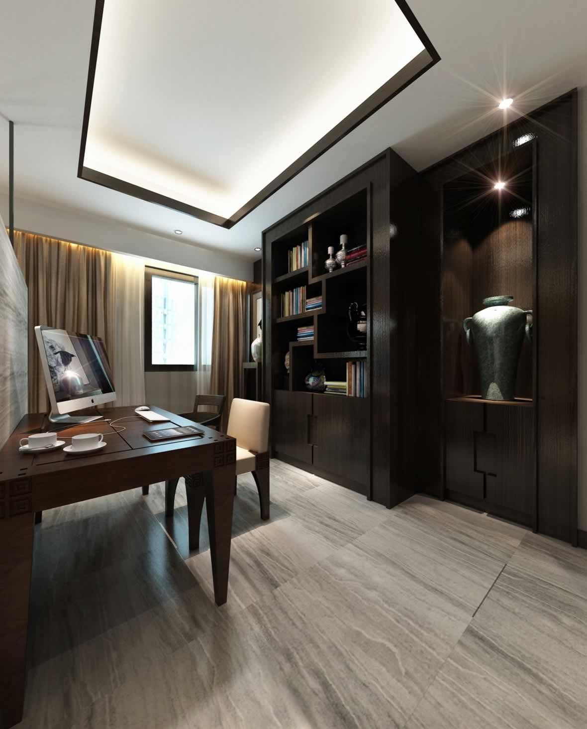 新中式三居室书房书柜设计图片图片