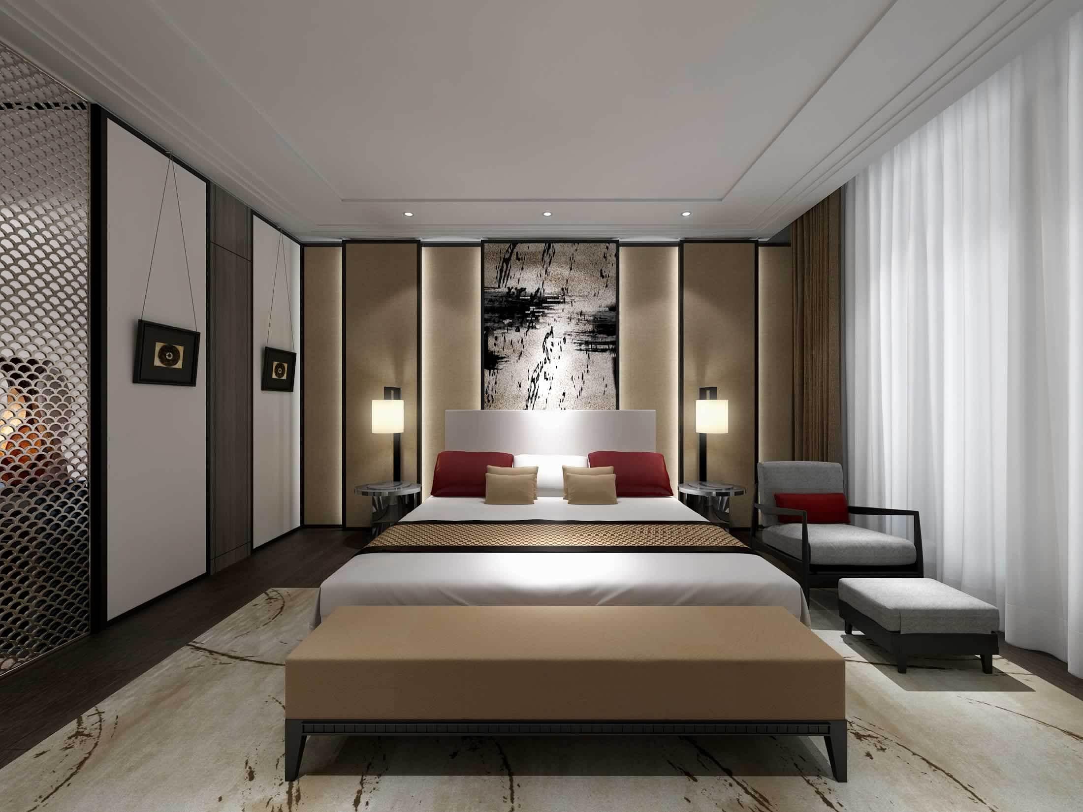 现代中式卧室效果�_134米现代中式风格装修效果图赏析_装修案例欣赏-保障网装修效果图