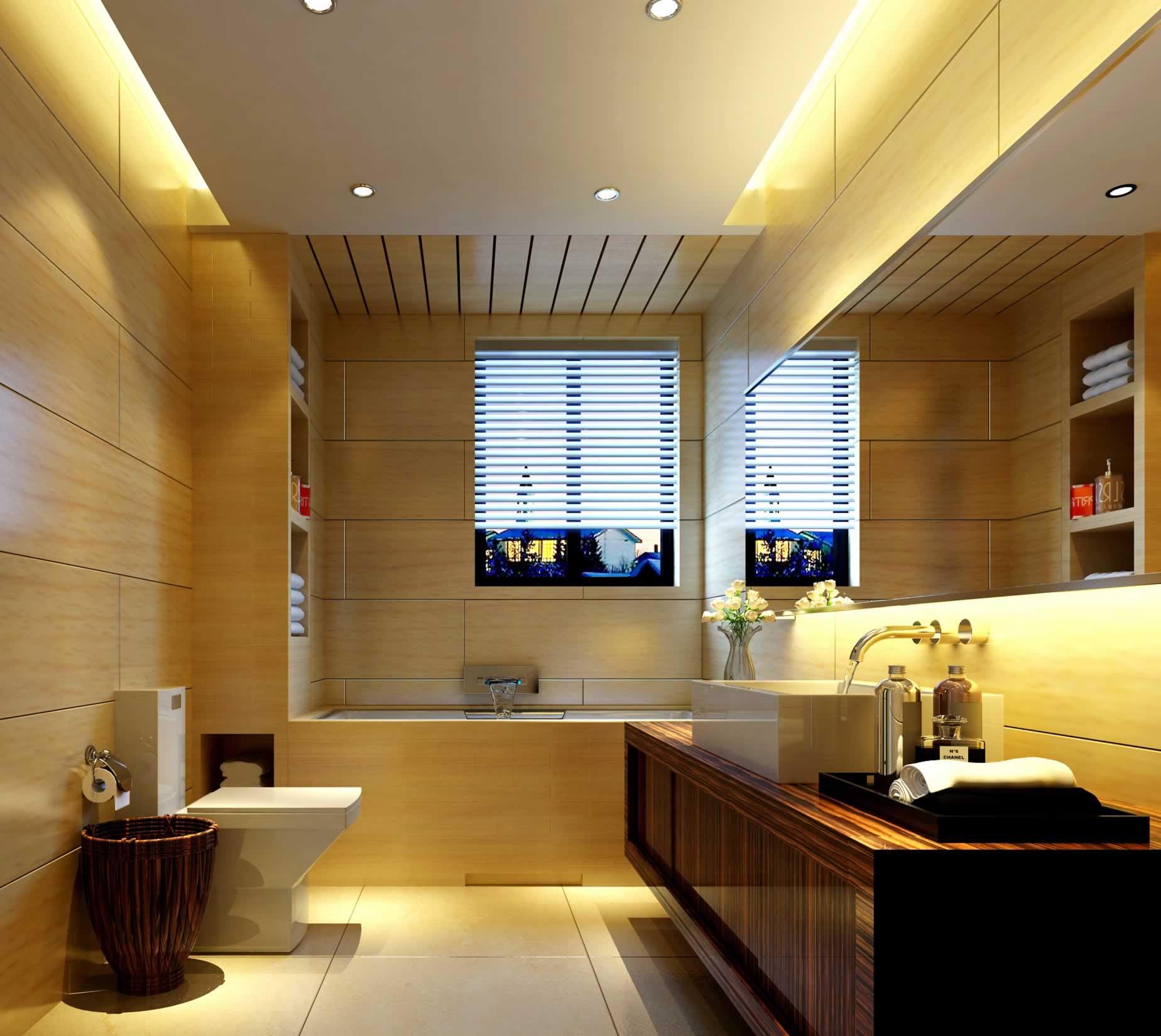 简约暖色调家居卫生间马桶设计图片