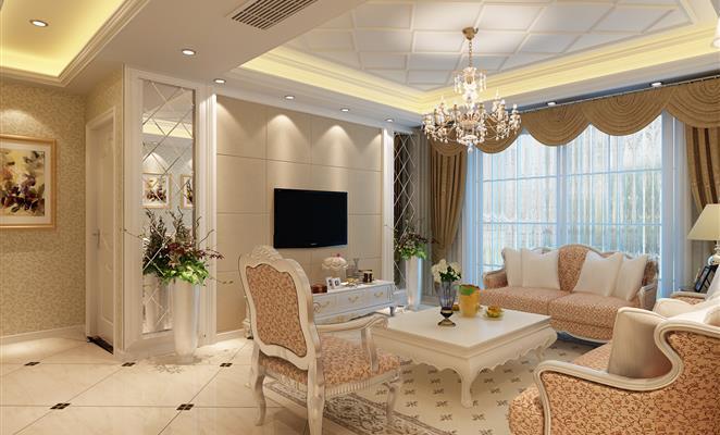 家装 简欧 拜斯达  装修 130 客厅 客厅电视背景墙黄色瓷砖地毯 米色图片
